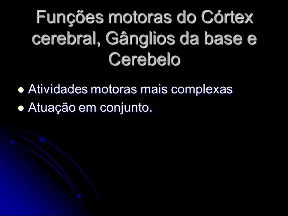 Funções motoras do Córtex cerebral, Gânglios da base e Cerebelo