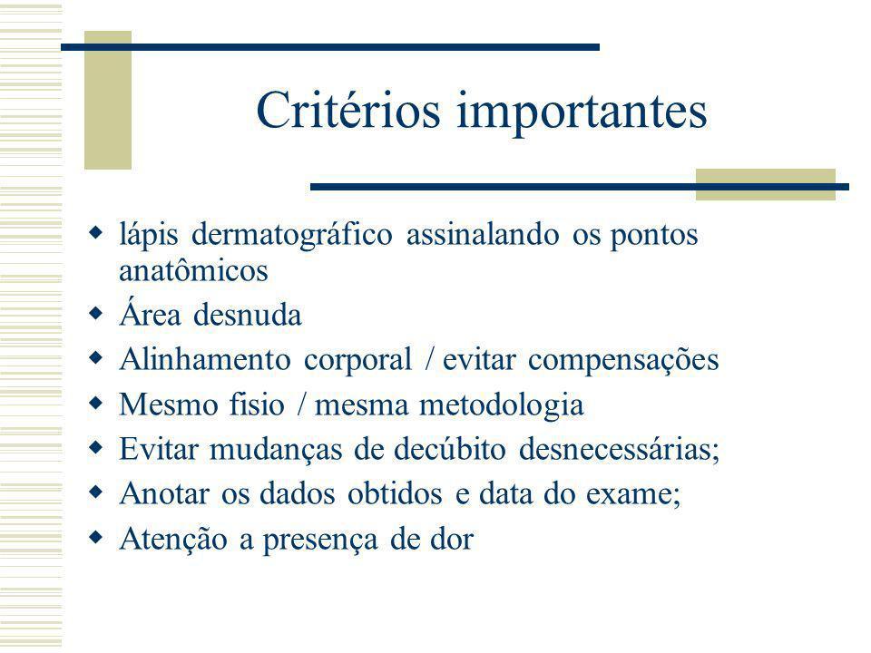 Critérios importantes