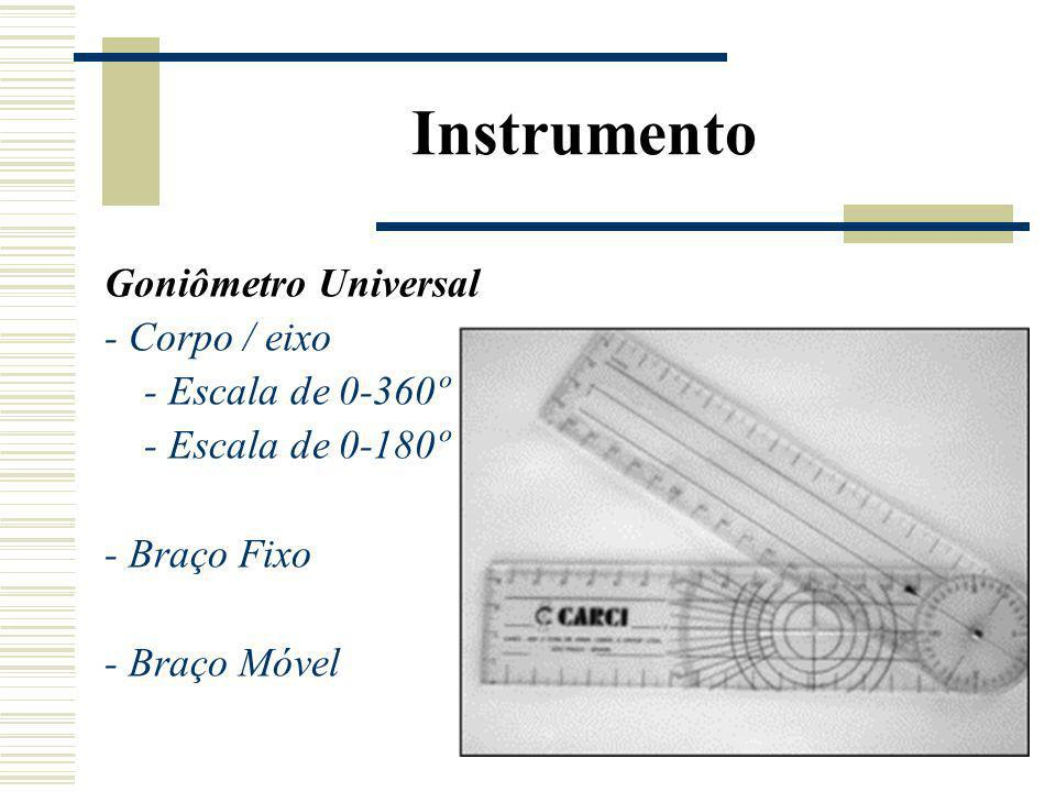Instrumento Goniômetro Universal - Corpo / eixo - Escala de 0-360º