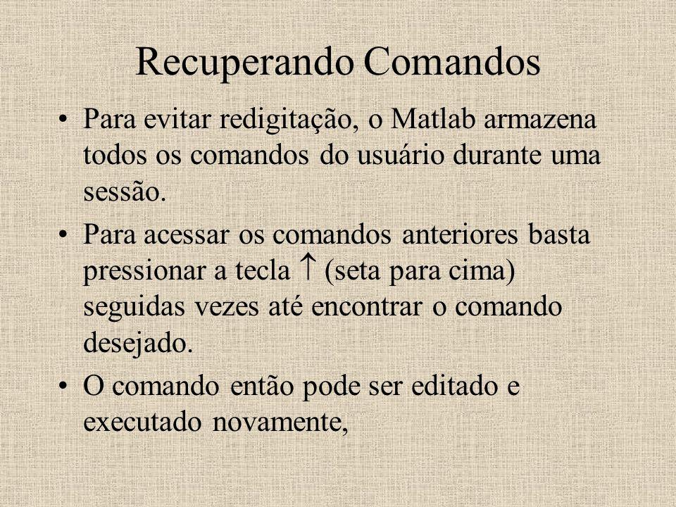 Recuperando Comandos Para evitar redigitação, o Matlab armazena todos os comandos do usuário durante uma sessão.