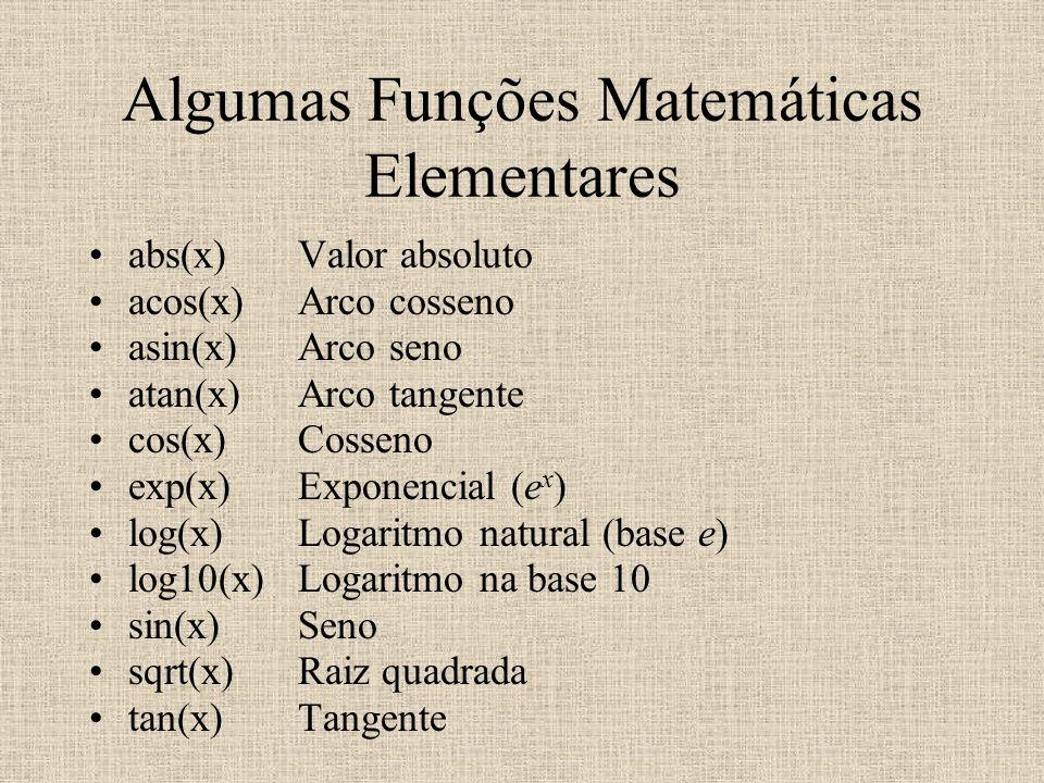 Algumas Funções Matemáticas Elementares