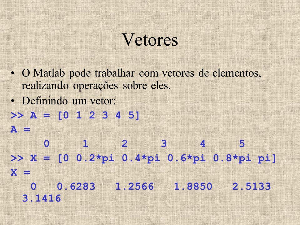 Vetores O Matlab pode trabalhar com vetores de elementos, realizando operações sobre eles. Definindo um vetor: