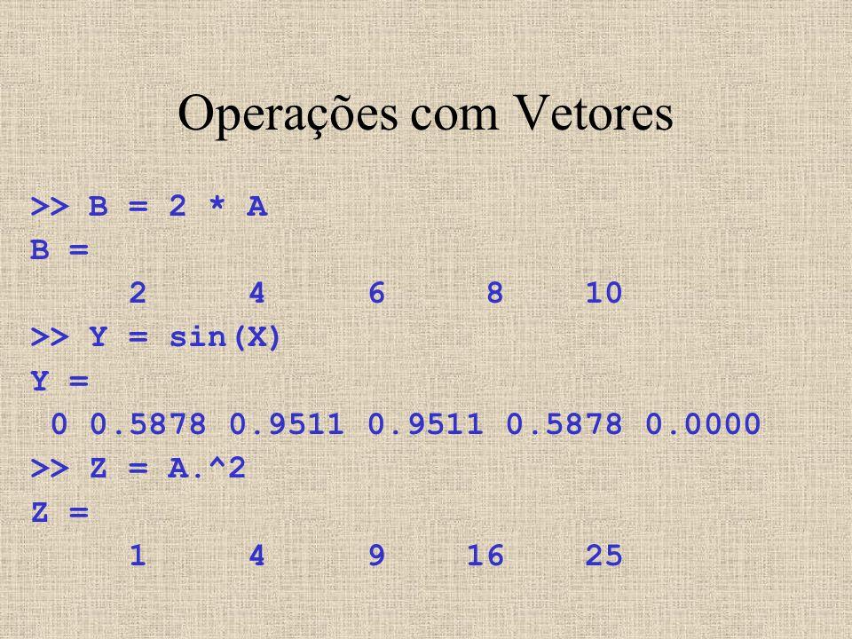 Operações com Vetores >> B = 2 * A B = 2 4 6 8 10