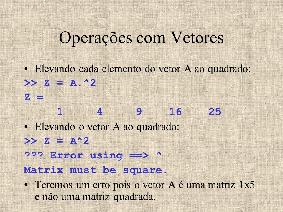 Operações com Vetores Elevando cada elemento do vetor A ao quadrado: