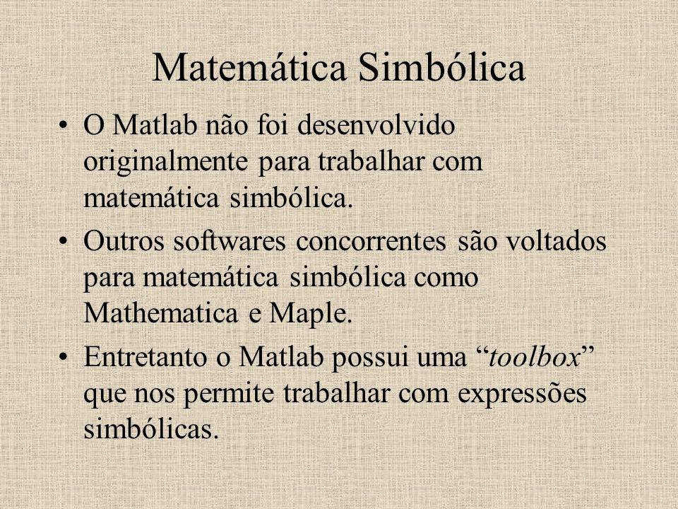 Matemática Simbólica O Matlab não foi desenvolvido originalmente para trabalhar com matemática simbólica.