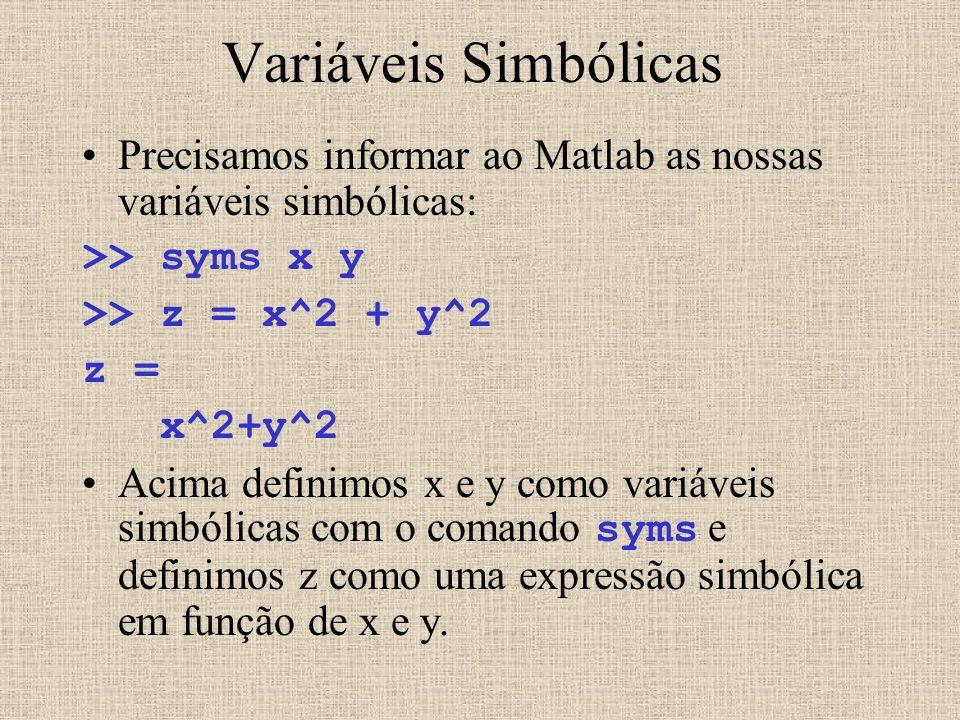 Variáveis Simbólicas Precisamos informar ao Matlab as nossas variáveis simbólicas: >> syms x y. >> z = x^2 + y^2.