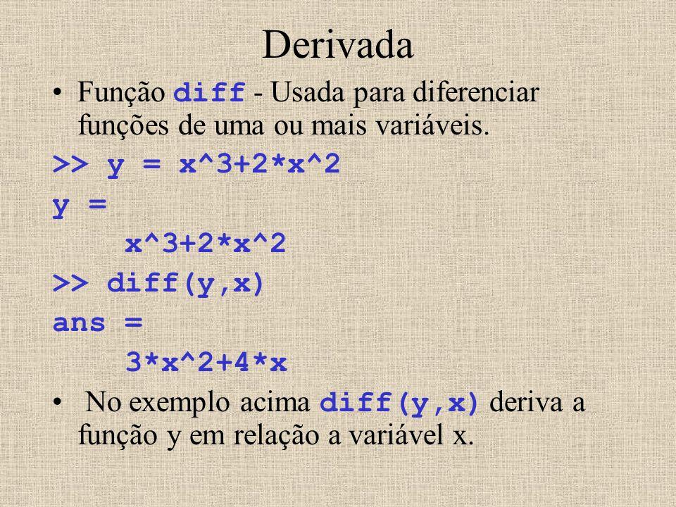 Derivada Função diff - Usada para diferenciar funções de uma ou mais variáveis. >> y = x^3+2*x^2. y =