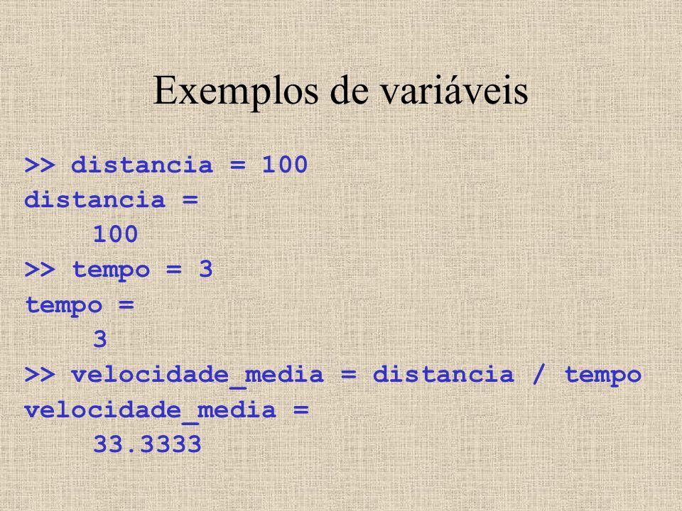 Exemplos de variáveis >> distancia = 100 distancia = 100