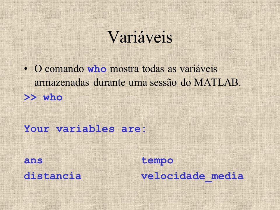 Variáveis O comando who mostra todas as variáveis armazenadas durante uma sessão do MATLAB. >> who.
