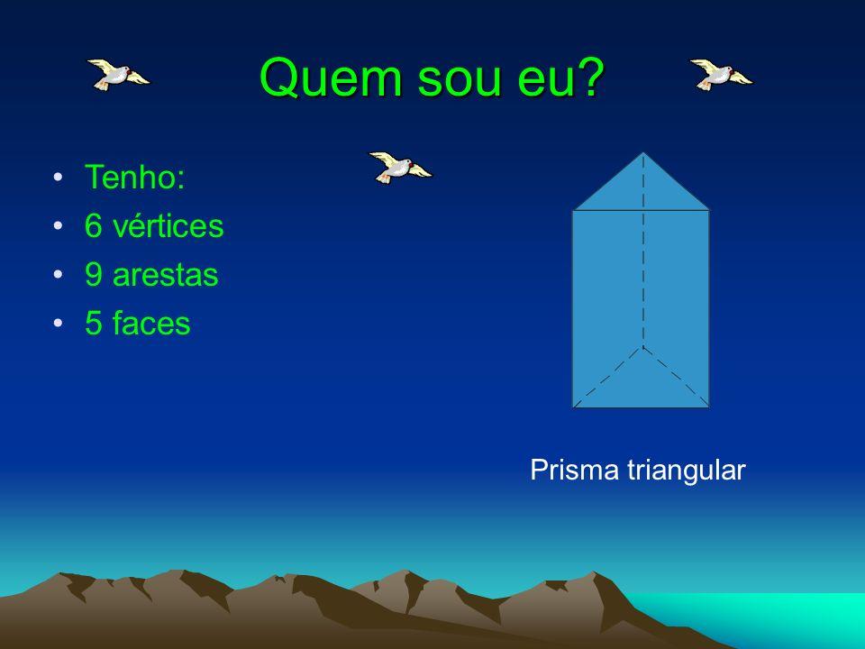 Quem sou eu Tenho: 6 vértices 9 arestas 5 faces Prisma triangular