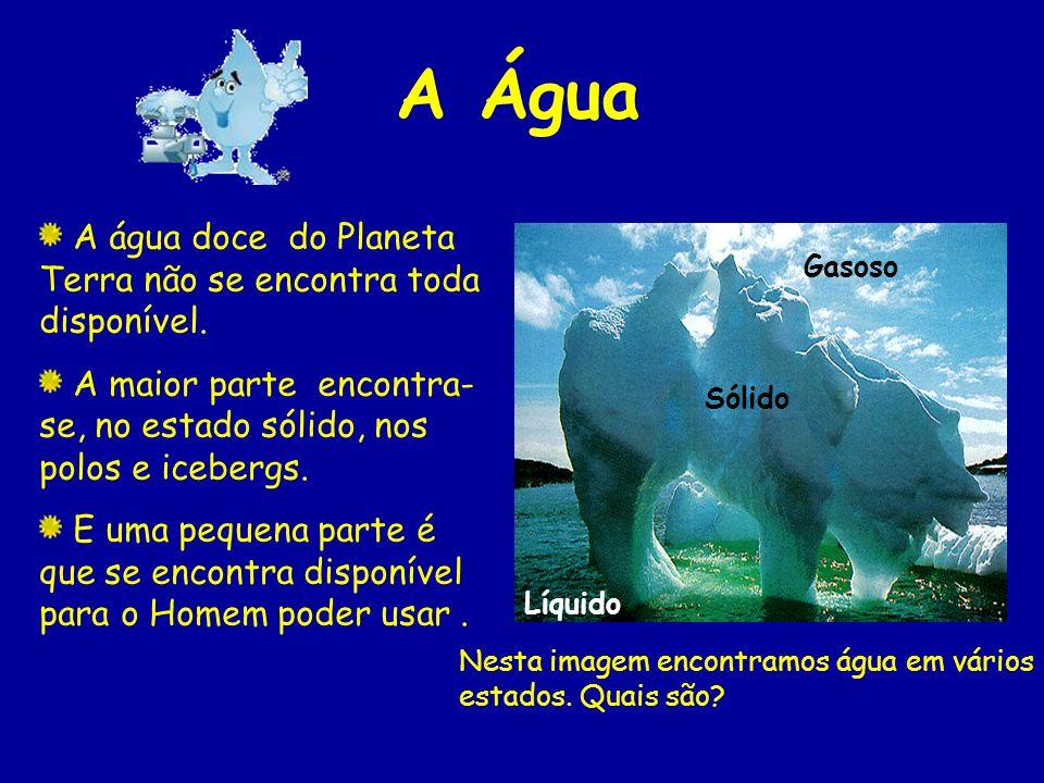 A Água A água doce do Planeta Terra não se encontra toda disponível.