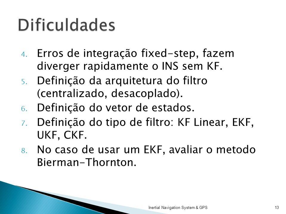 Dificuldades Erros de integração fixed-step, fazem diverger rapidamente o INS sem KF.