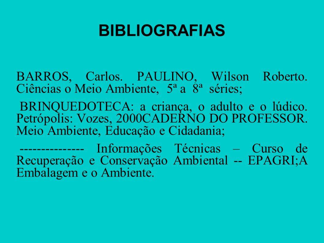 BIBLIOGRAFIASBARROS, Carlos. PAULINO, Wilson Roberto. Ciências o Meio Ambiente, 5ª a 8ª séries;