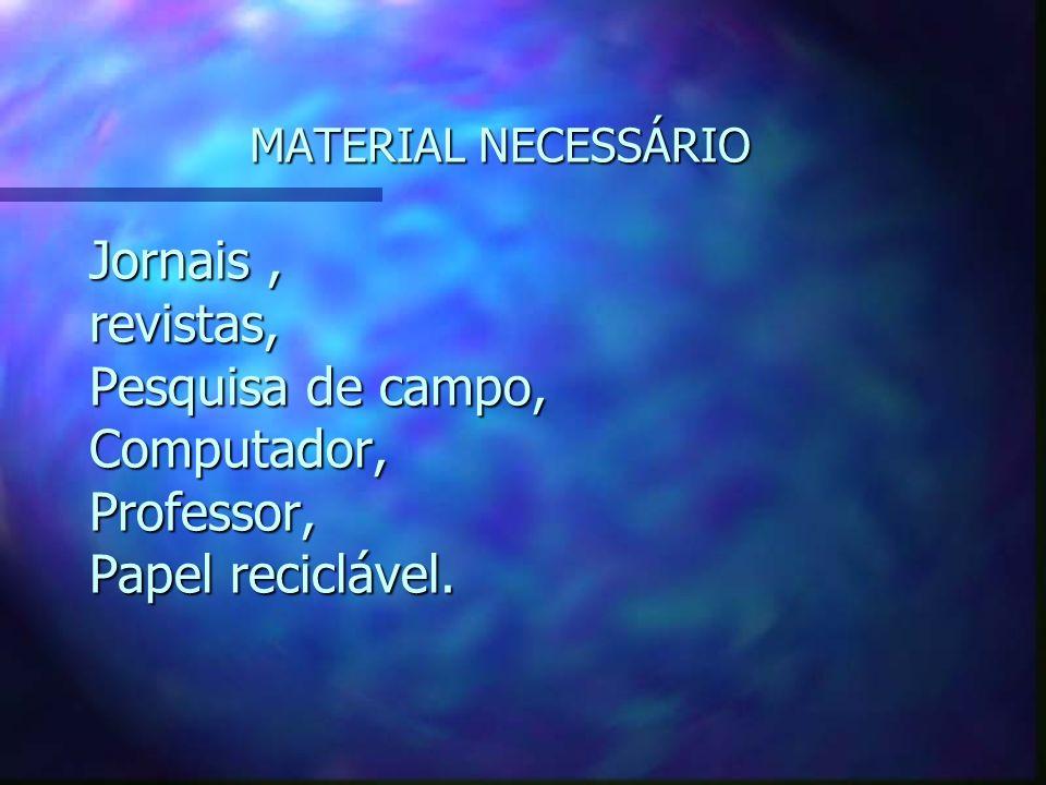 MATERIAL NECESSÁRIO Jornais , revistas, Pesquisa de campo, Computador, Professor, Papel reciclável.