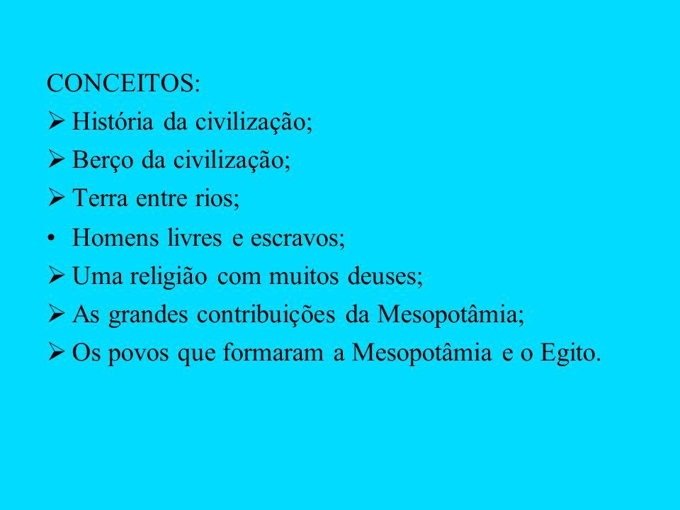 CONCEITOS: História da civilização; Berço da civilização; Terra entre rios; Homens livres e escravos;