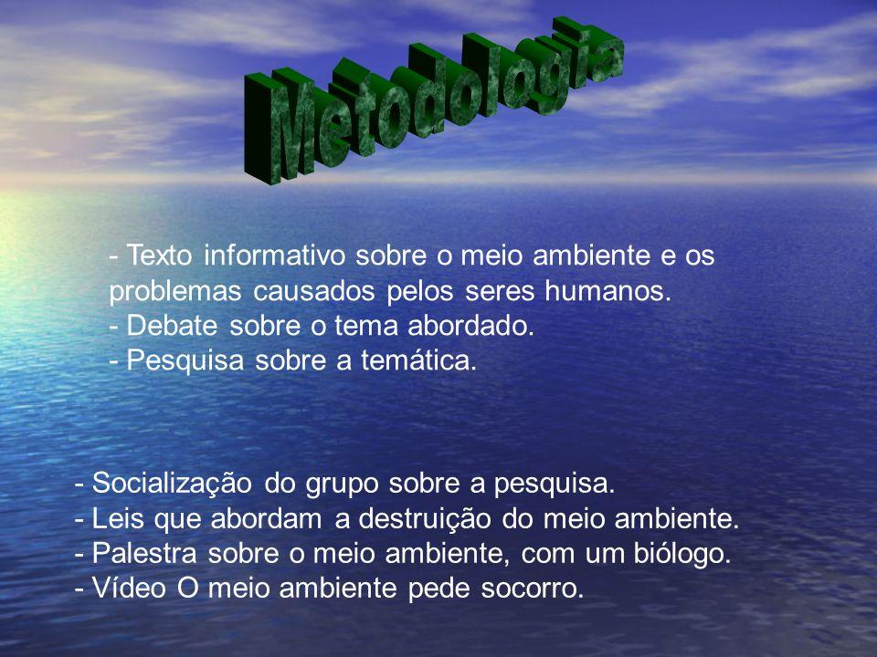 Metodologia- Texto informativo sobre o meio ambiente e os problemas causados pelos seres humanos. - Debate sobre o tema abordado.