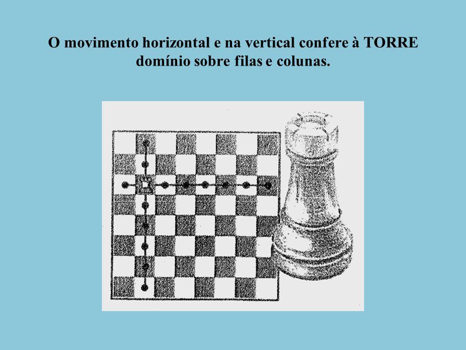 O movimento horizontal e na vertical confere à TORRE domínio sobre filas e colunas.