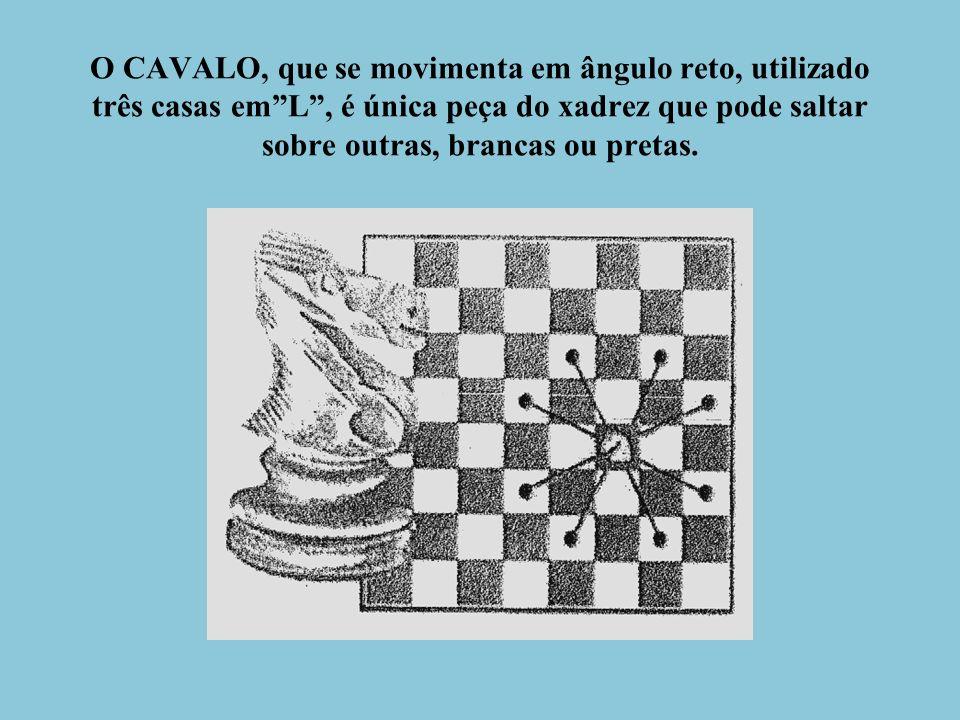 O CAVALO, que se movimenta em ângulo reto, utilizado três casas em L , é única peça do xadrez que pode saltar sobre outras, brancas ou pretas.