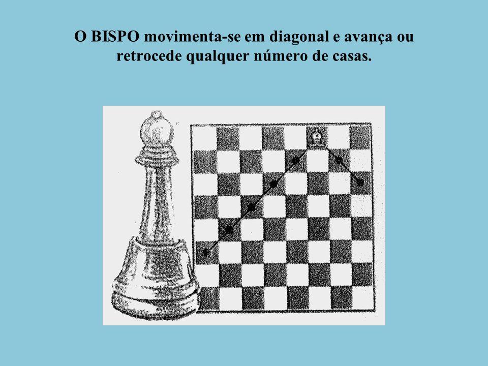 O BISPO movimenta-se em diagonal e avança ou retrocede qualquer número de casas.