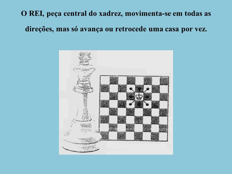 O REI, peça central do xadrez, movimenta-se em todas as direções, mas só avança ou retrocede uma casa por vez.