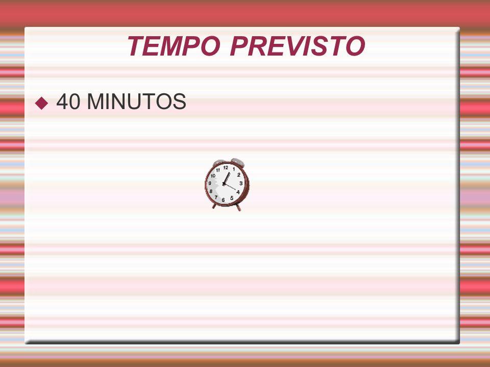 TEMPO PREVISTO 40 MINUTOS