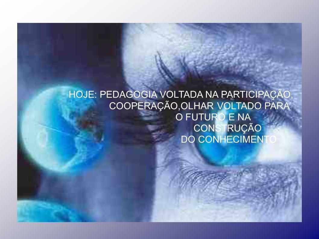 HOJE: PEDAGOGIA VOLTADA NA PARTICIPAÇÃO, COOPERAÇÃO,OLHAR VOLTADO PARA