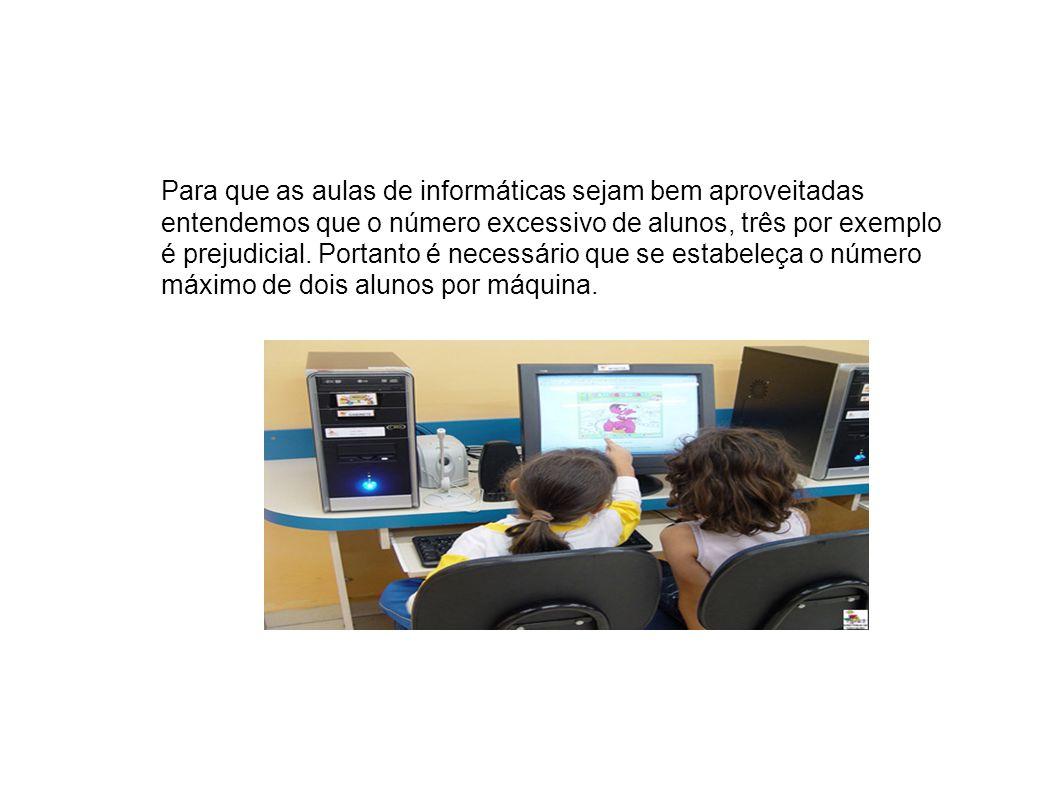 Para que as aulas de informáticas sejam bem aproveitadas entendemos que o número excessivo de alunos, três por exemplo é prejudicial.