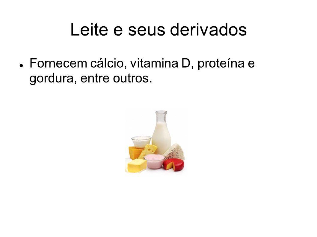Leite e seus derivados Fornecem cálcio, vitamina D, proteína e gordura, entre outros.
