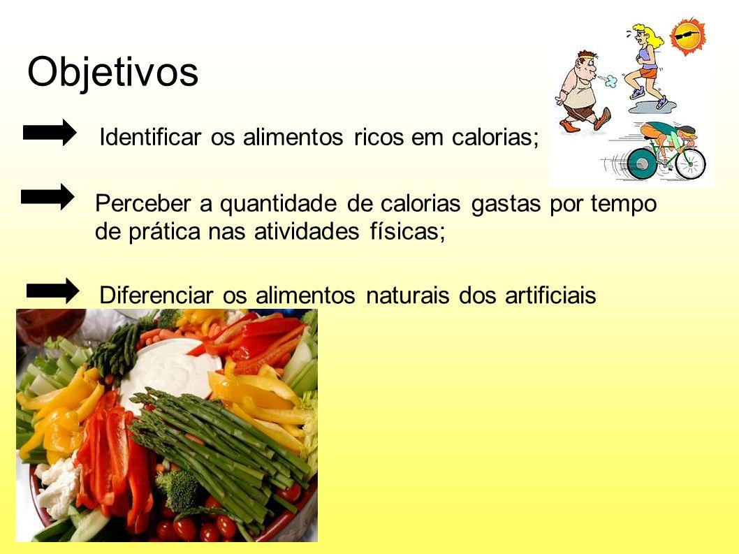 Objetivos Identificar os alimentos ricos em calorias;