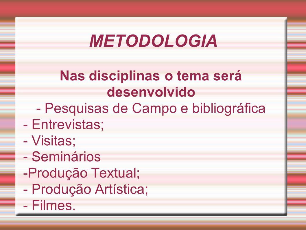 Nas disciplinas o tema será desenvolvido