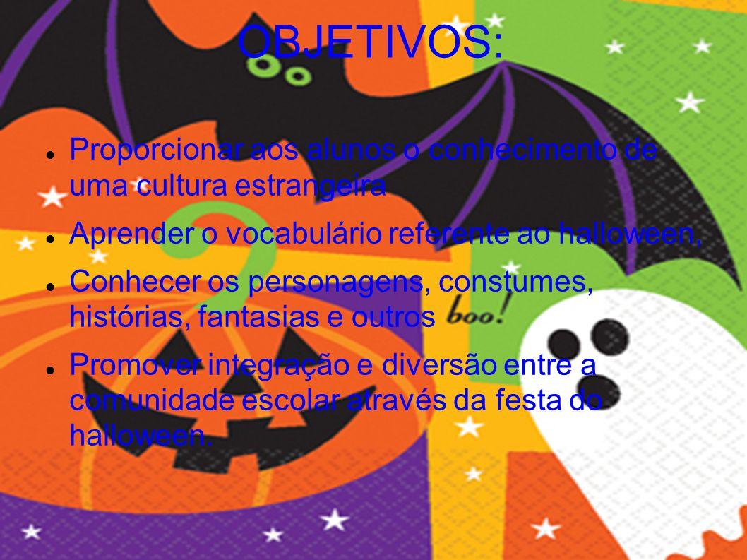 OBJETIVOS: Proporcionar aos alunos o conhecimento de uma cultura estrangeira. Aprender o vocabulário referente ao halloween,