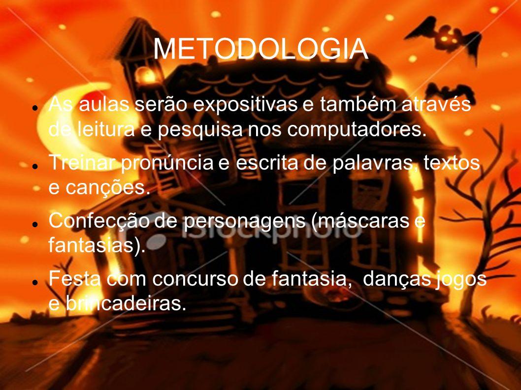 METODOLOGIA As aulas serão expositivas e também através de leitura e pesquisa nos computadores.