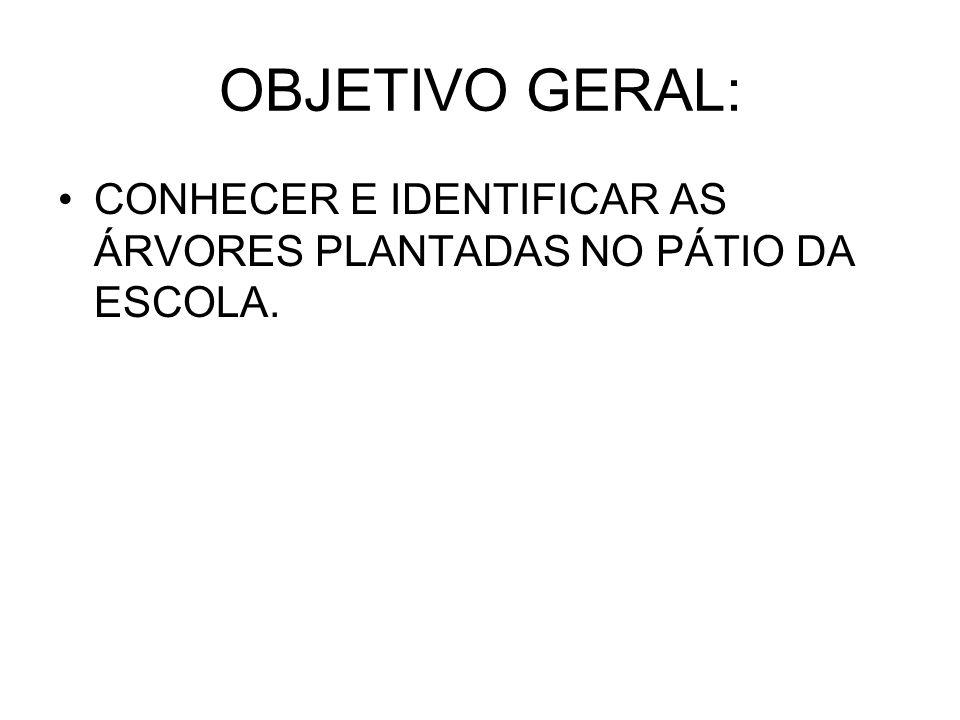 OBJETIVO GERAL: CONHECER E IDENTIFICAR AS ÁRVORES PLANTADAS NO PÁTIO DA ESCOLA.