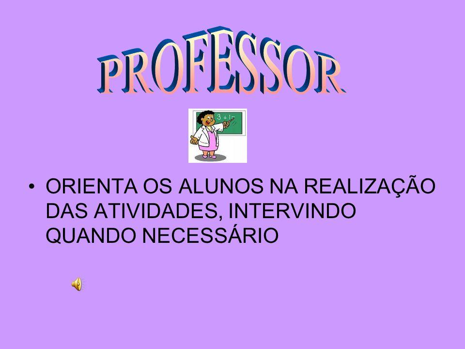 PROFESSOR ORIENTA OS ALUNOS NA REALIZAÇÃO DAS ATIVIDADES, INTERVINDO QUANDO NECESSÁRIO