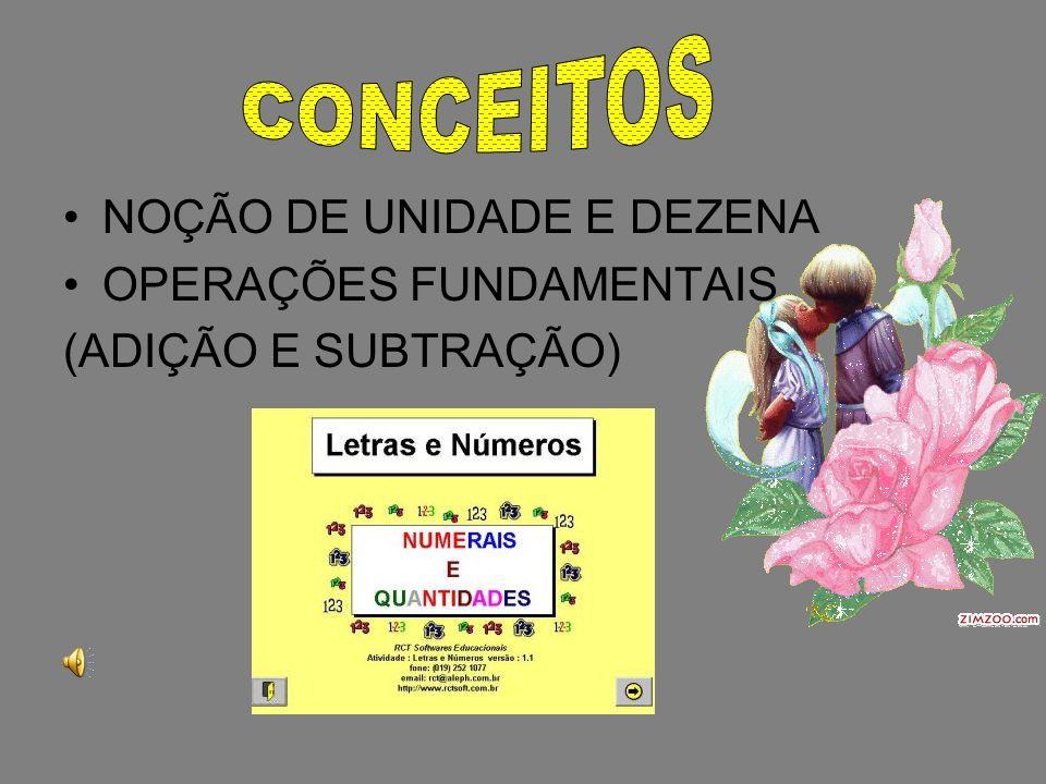 CONCEITOS NOÇÃO DE UNIDADE E DEZENA OPERAÇÕES FUNDAMENTAIS