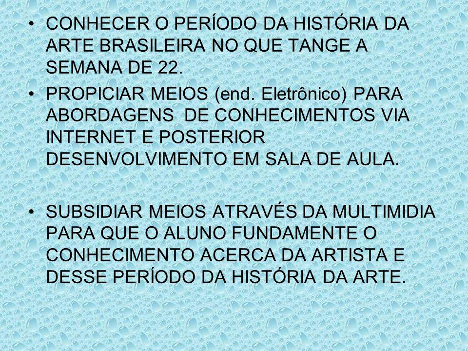 CONHECER O PERÍODO DA HISTÓRIA DA ARTE BRASILEIRA NO QUE TANGE A SEMANA DE 22.