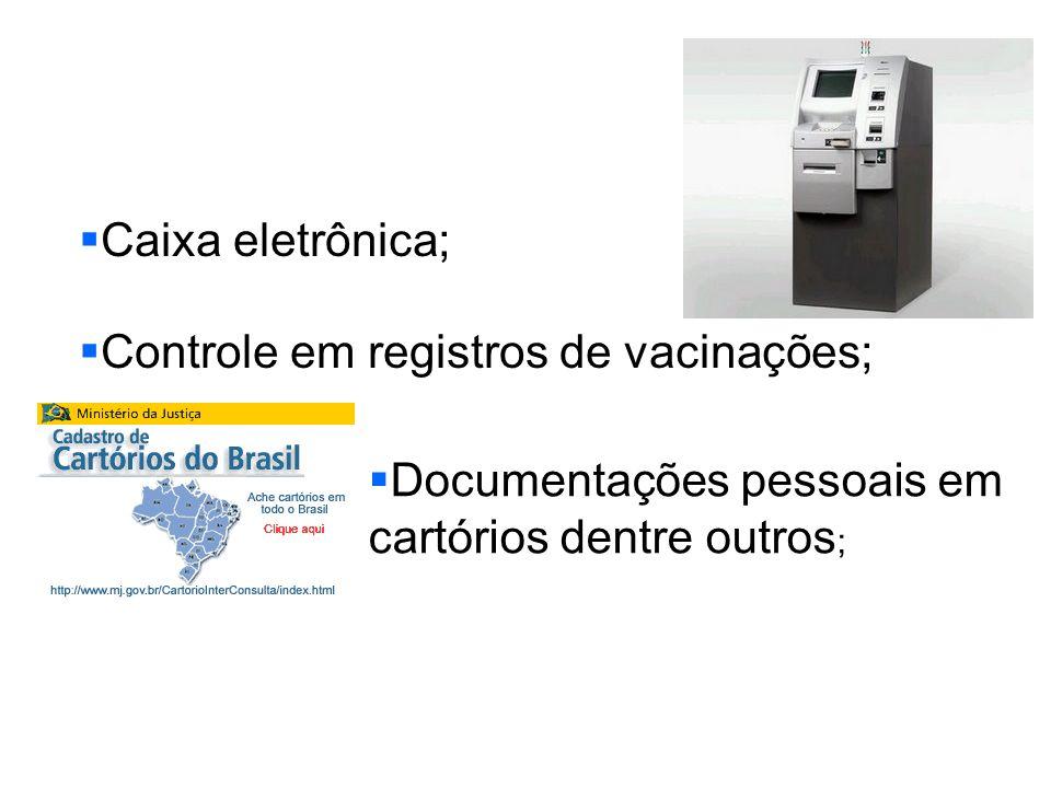 Caixa eletrônica; Controle em registros de vacinações; Documentações pessoais em cartórios dentre outros;