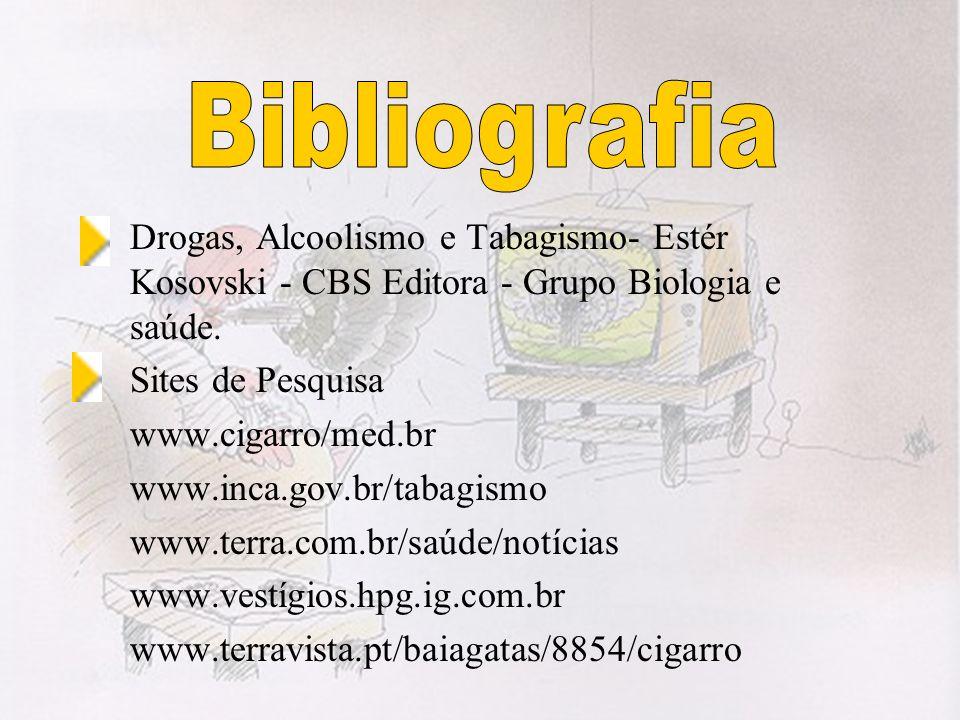 BibliografiaDrogas, Alcoolismo e Tabagismo- Estér Kosovski - CBS Editora - Grupo Biologia e saúde. Sites de Pesquisa.