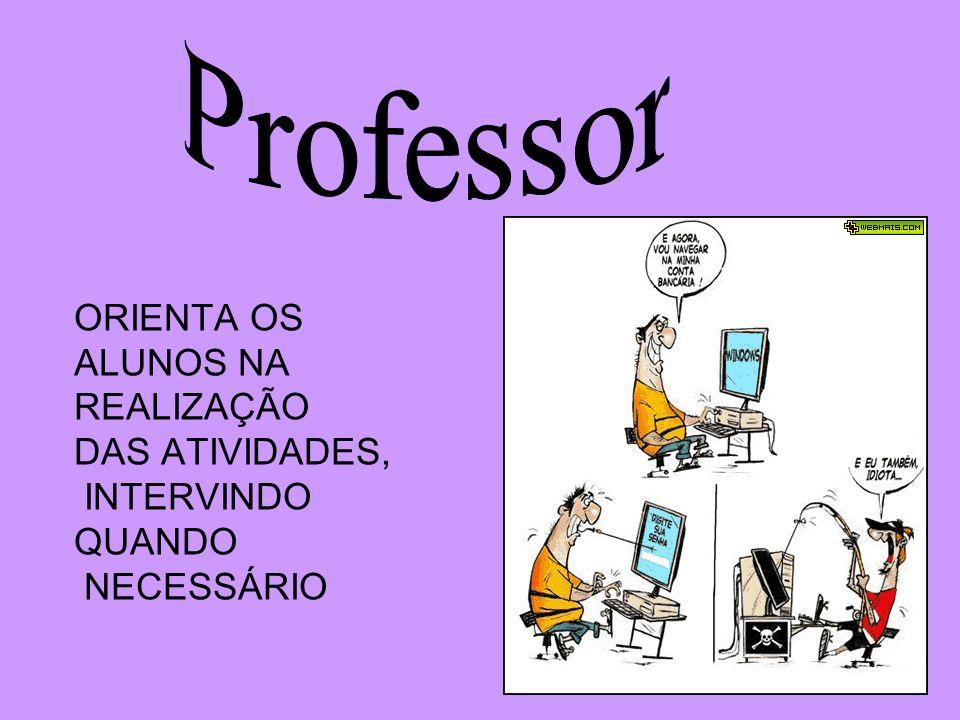 Professor ORIENTA OS ALUNOS NA REALIZAÇÃO DAS ATIVIDADES, INTERVINDO