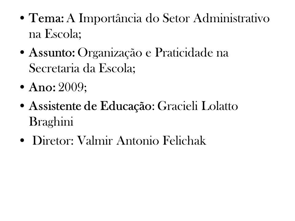 Tema: A Importância do Setor Administrativo na Escola;