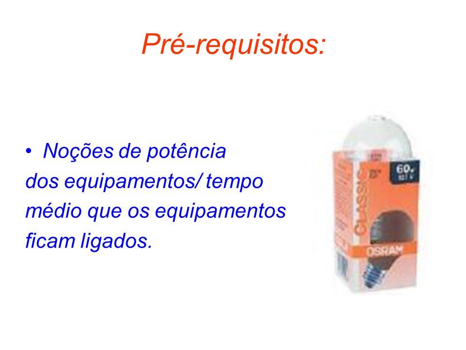 Pré-requisitos: Noções de potência dos equipamentos/ tempo