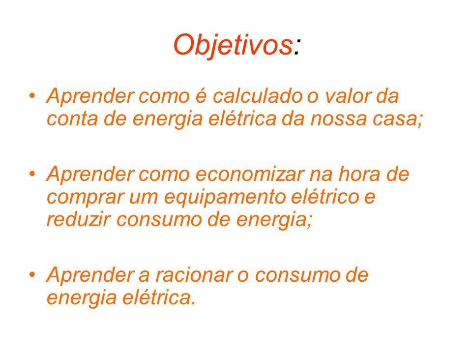 Objetivos: Aprender como é calculado o valor da conta de energia elétrica da nossa casa;