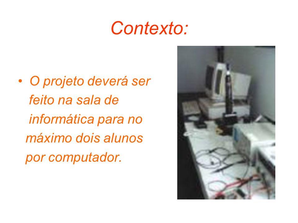 Contexto: O projeto deverá ser feito na sala de informática para no