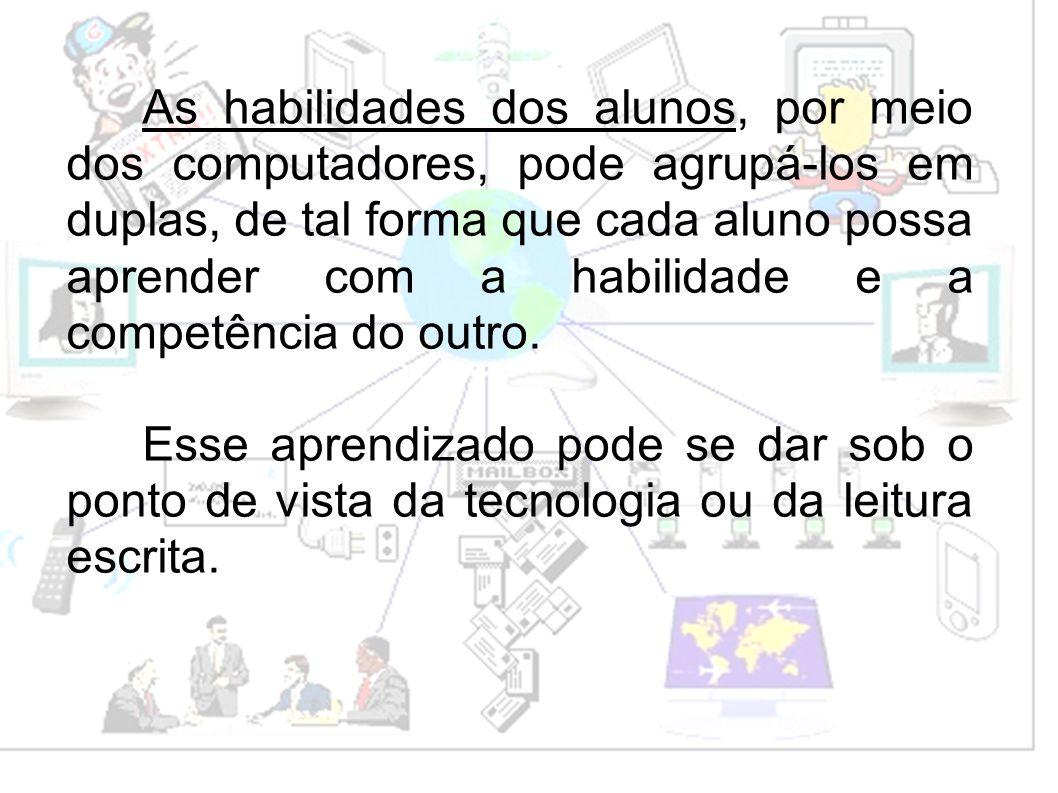 As habilidades dos alunos, por meio dos computadores, pode agrupá-los em duplas, de tal forma que cada aluno possa aprender com a habilidade e a competência do outro.