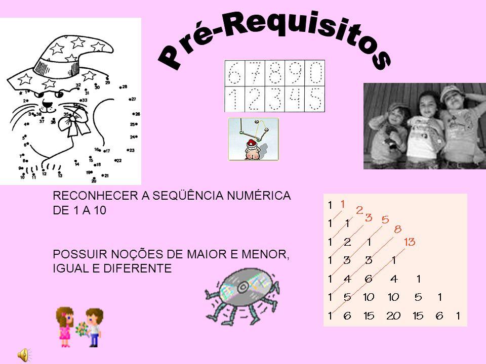 Pré-Requisitos RECONHECER A SEQÜÊNCIA NUMÉRICA DE 1 A 10