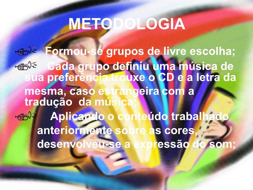 METODOLOGIA Formou-se grupos de livre escolha;