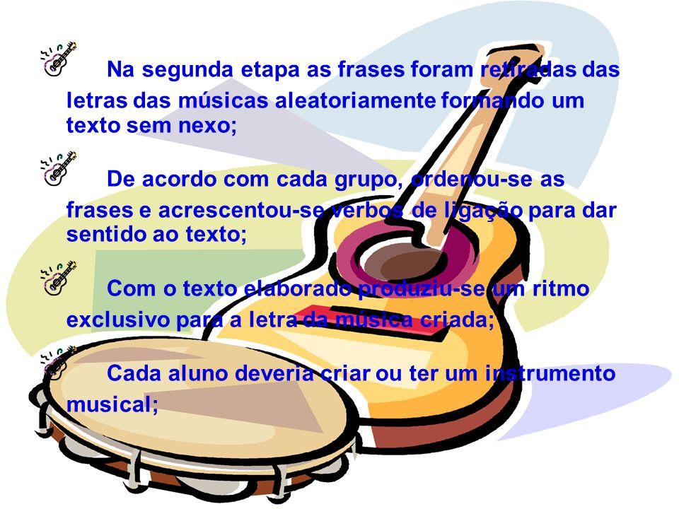 Na segunda etapa as frases foram retiradas das letras das músicas aleatoriamente formando um texto sem nexo;