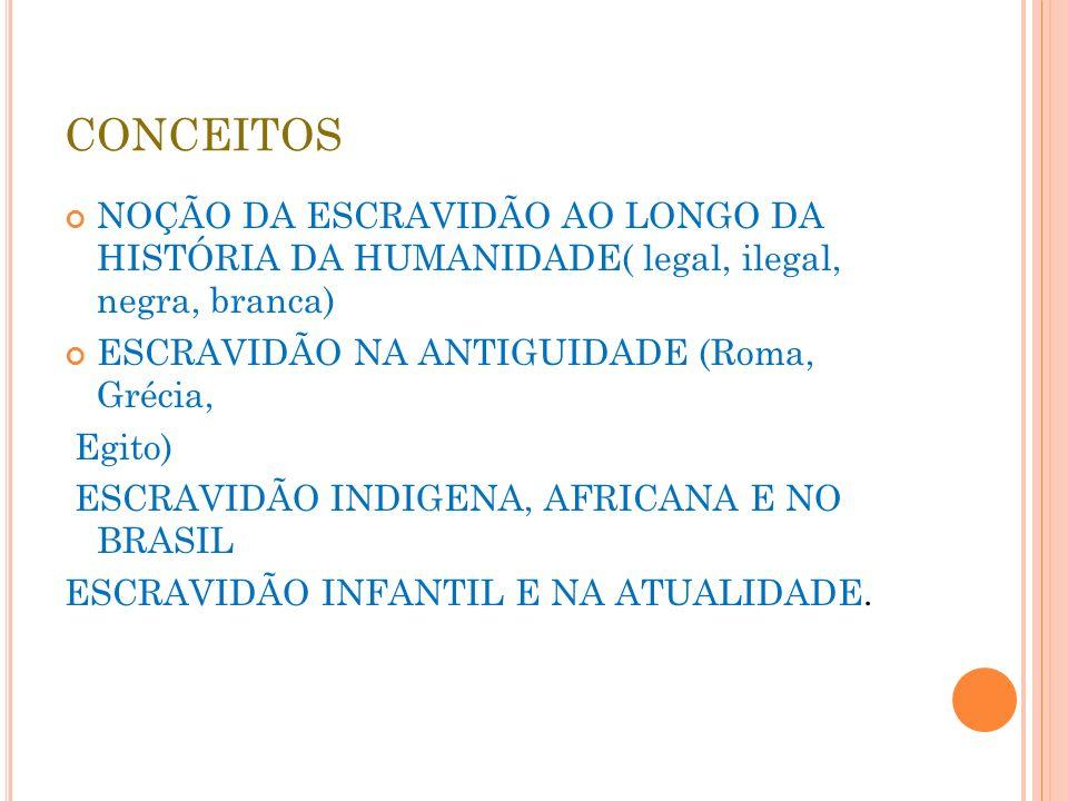 CONCEITOS NOÇÃO DA ESCRAVIDÃO AO LONGO DA HISTÓRIA DA HUMANIDADE( legal, ilegal, negra, branca) ESCRAVIDÃO NA ANTIGUIDADE (Roma, Grécia,