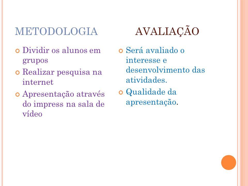 METODOLOGIA AVALIAÇÃO