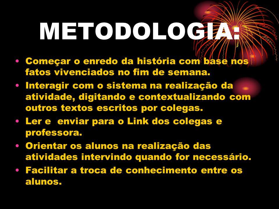 METODOLOGIA:Começar o enredo da história com base nos fatos vivenciados no fim de semana.